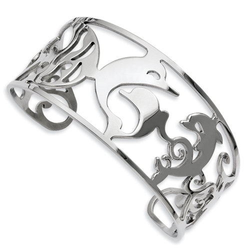 Chisel Stainless Steel Dolphins Cuff Bangle