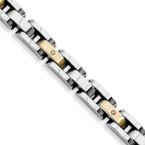 Chisel Stainless Steel 14k 8.5 inch Bracelet with Diamonds