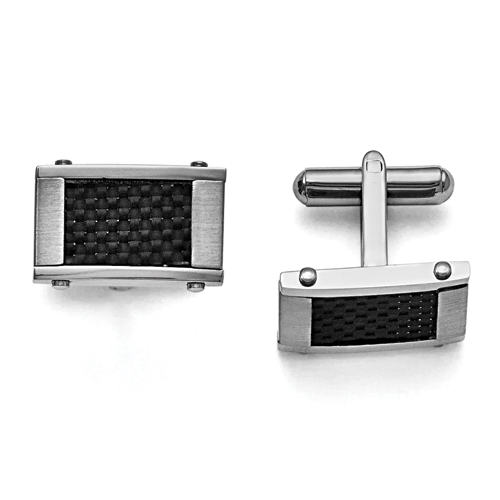 Chisel Stainless Steel Black Carbon Fiber Rectangle Cuff Links