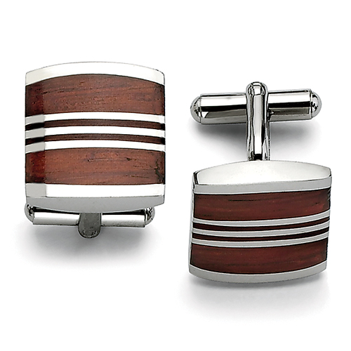 Chisel Stainless Steel Wood Cuff Links