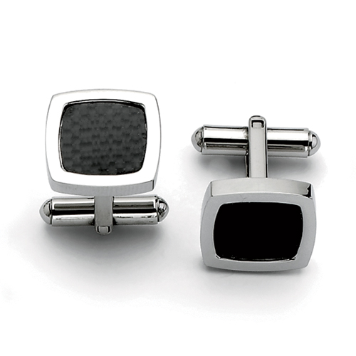 Chisel Stainless Steel Polished, Carbon Fiber Cuff Links