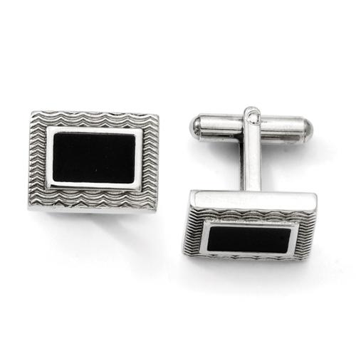 Chisel Stainless Steel Black Enamel Cuff Links