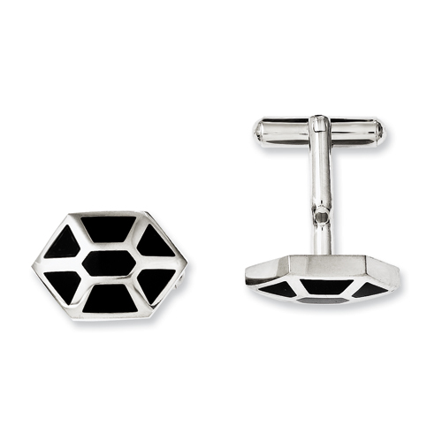 Chisel Stainless Steel Black Enamel and Polished Cuff Links