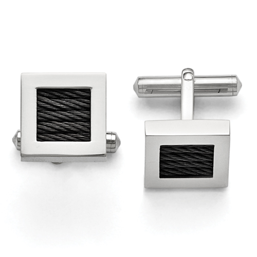 Stainless Steel Polished Black IP-plated Wire Cuff Links