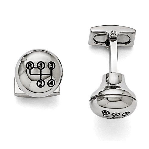 Stainless Steel Polished Stick Shift Design Enameled Cuff Links