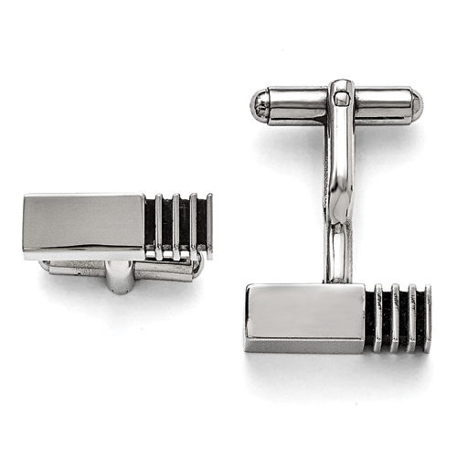 Stainless Steel Polished Antiqued Inlay Cuff Links