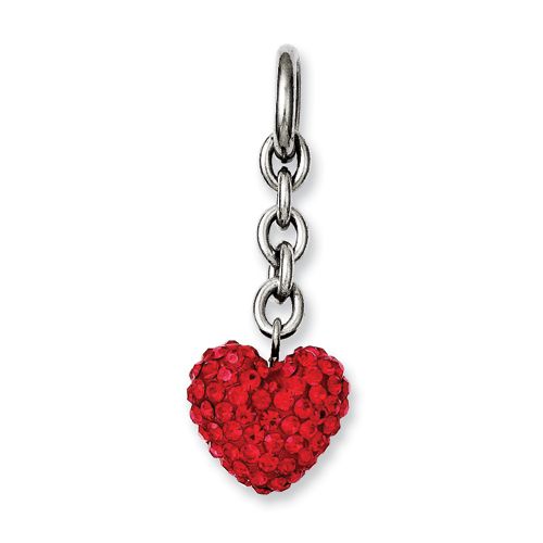 Chisel Stainless Steel Red CZ Heart Interchangeable Charm Pendant