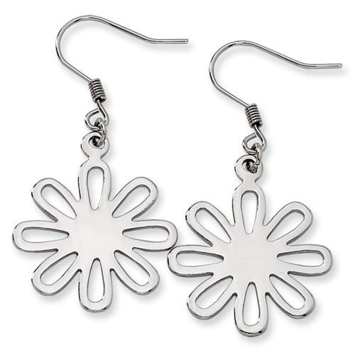 Chisel Stainless Steel Polished Large Flower Dangle Earrings