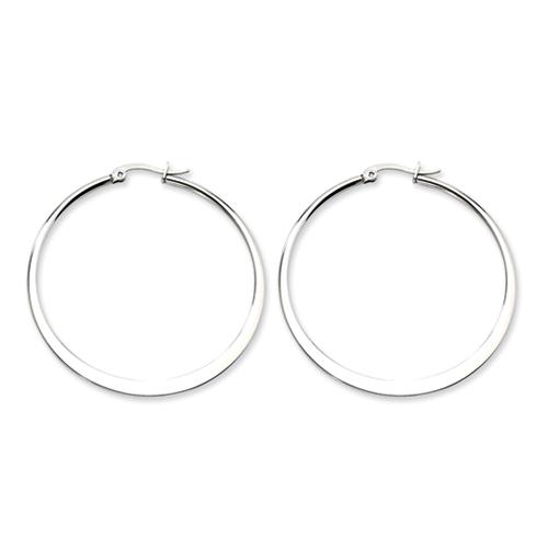 Chisel Stainless Steel Polished 50mm Hoop Earrings