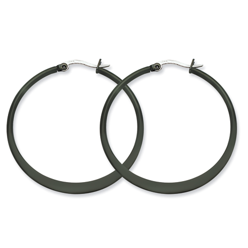 Chisel Stainless Steel Black-plated 43mm Hoop Earrings