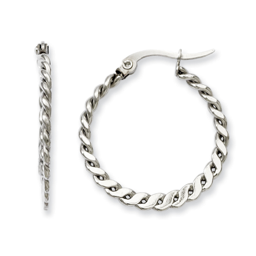 Chisel Stainless Steel 20mm Textured Hoop Earrings
