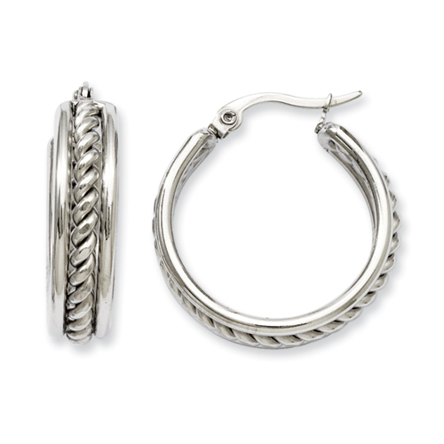Chisel Stainless Steel 20mm Twisted Middle Hoop Earrings