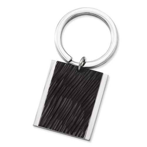 Chisel Stainless Steel Textured Black Plated Key Ring