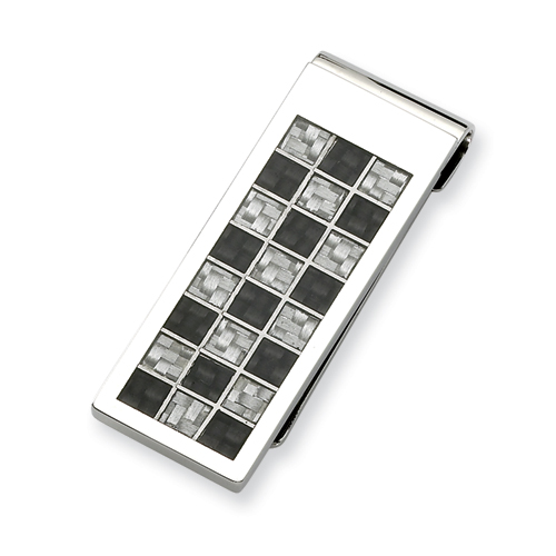 Chisel Stainless Steel Black and Grey Carbon Fiber Money Clip