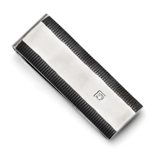 Chisel Stainless Steel Black IP-plated CZ Polished Money Clip
