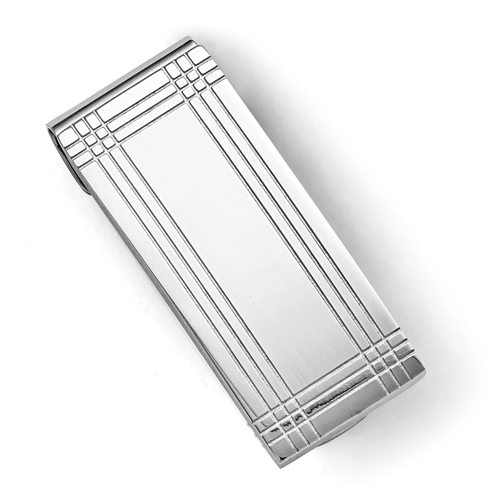 Stainless Steel Polished and Grooved Money Clip