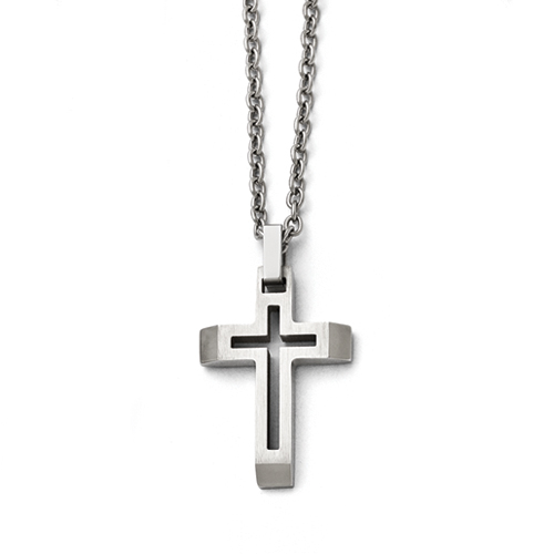 Stainless Steel Polished and Brushed Cut-out Cross Necklace