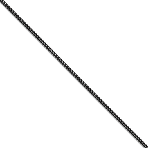 Stainless Steel Polished Black IP-plated 2.25mm Round Curb Chain