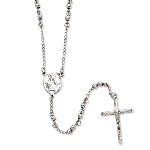 Chisel Stainless Steel 4mm Bead Rosary Necklace