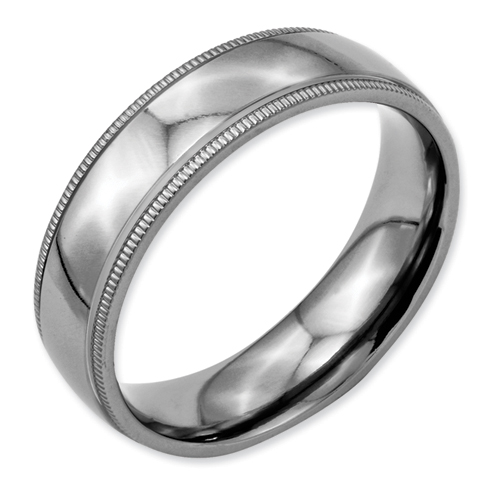 Chisel Titanium Grooved and Beaded 6mm Polished Band
