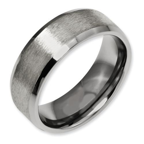 Chisel Titanium Beveled Edge 8mm Satin and Polished Band