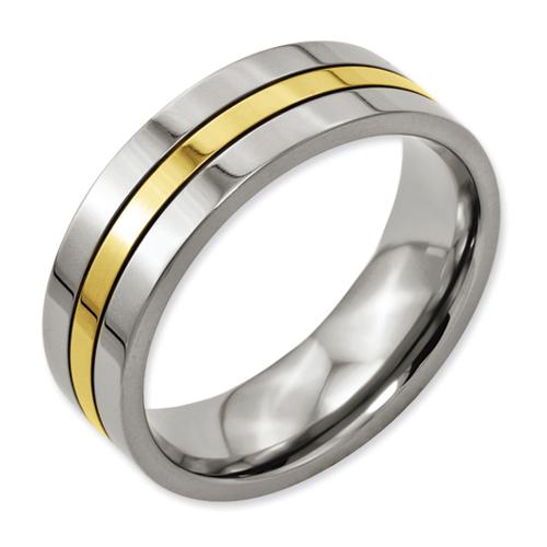 Chisel Titanium 14k Gold Plated 7mm Polished Band