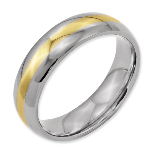 Chisel Titanium and 14k Inlay Polished 6mm Wedding Band