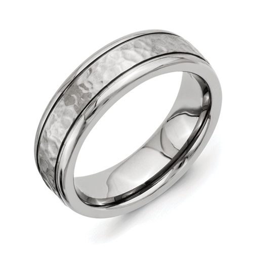 Chisel Titanium 7mm Hammered and Polished Band