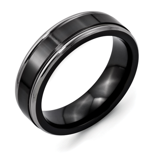Chisel Titanium Two-tone 6.5mm Grooved Edge Brushed Band