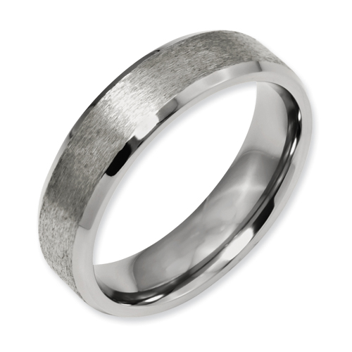 Chisel Titanium Beveled Edge 6mm Satin and Polished Band