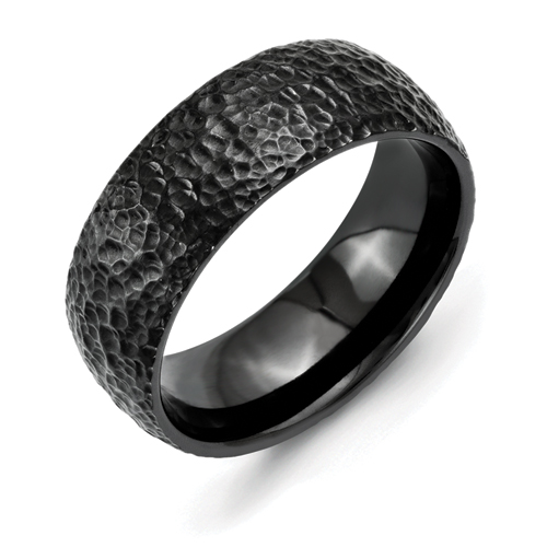 Chisel Titanium Black IP-Plated Hammered 8mm Band