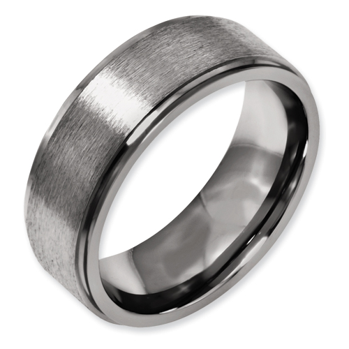 Chisel Titanium Grooved Edge 8mm Brushed and Polished Band