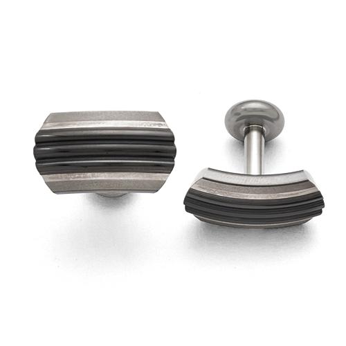 Titanium/Ster.Sil Black Ti Brushed/Polished Striped Cuff Links