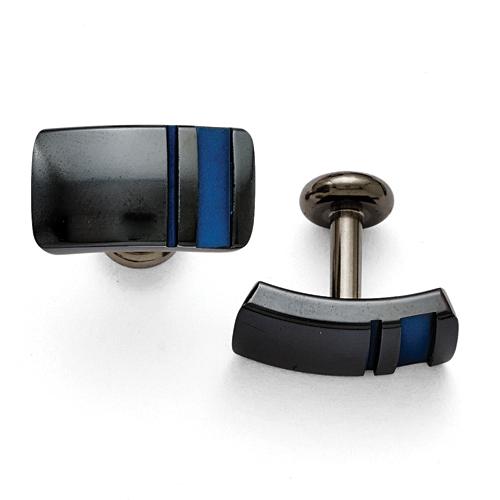 Titanium Black Ti Polished Blue Anodized Stripe Cuff Links