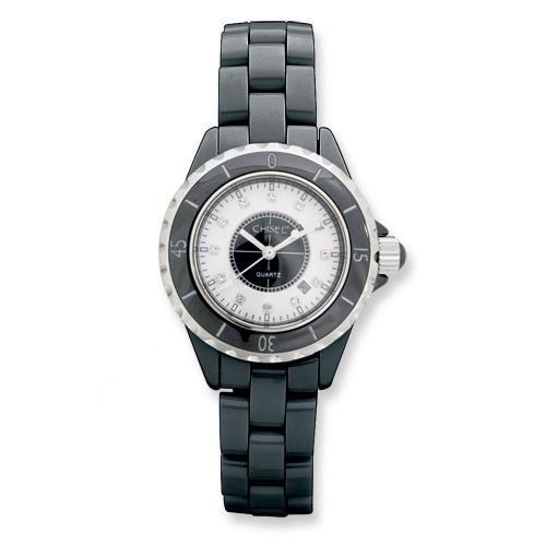Ladies Chisel Black Ceramic/Black and White Dial Watch