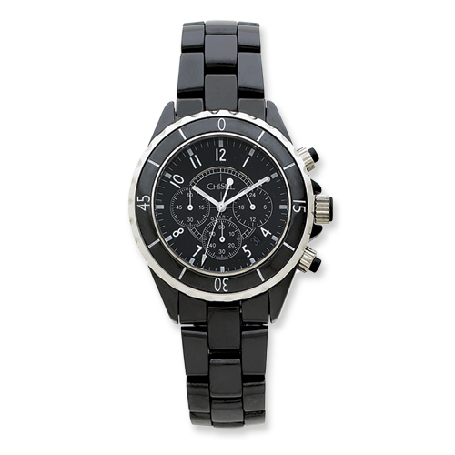 Chisel Mens Black Ceramic and Dial Chronograph Watch