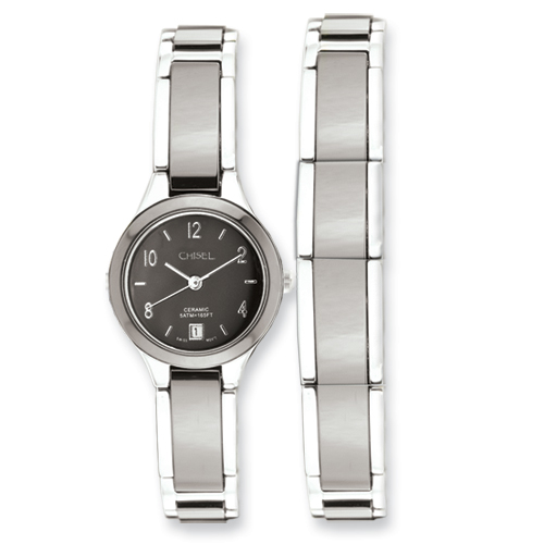 Ladies Chisel Ceramic and Stainless Steel Black Dial Watch and Bracelet
