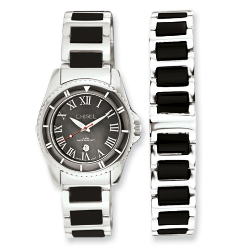 Chisel Ladies Ceramic and Stainless Steel Black Dial Watch and 7.5 inch Bracelet Set