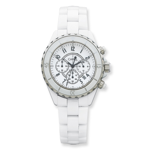 Chisel Mens White Ceramic and Dial Chronograph Watch