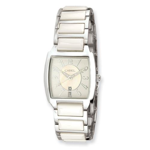 Ladies Chisel White Ceramic Square Dial Watch