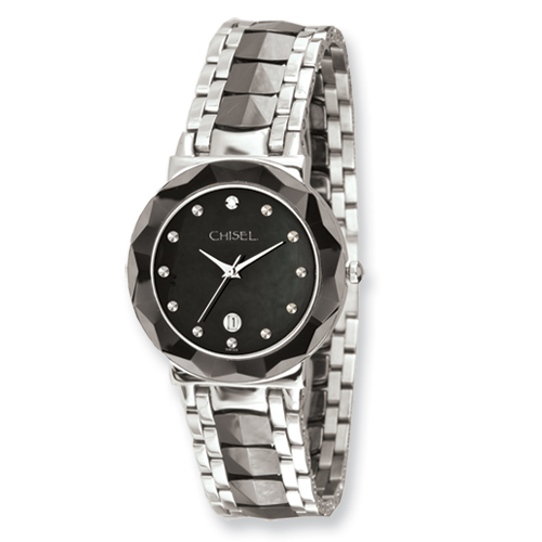 Chisel Mens Stainless Steel and Ceramic Black Dial Watch