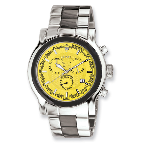 Chisel Mens Stainless Steel Swiss Quartz Chrono Yellow Dial Watch