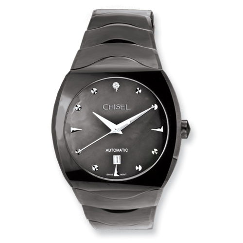 Chisel Mens Tungsten and Black Mother of Pearl Black Dial Watch
