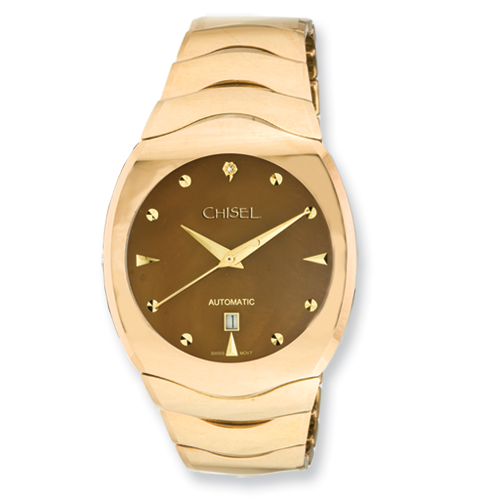 Chisel Mens Tungsten and Champagne Mother of Pearl Dial Watch