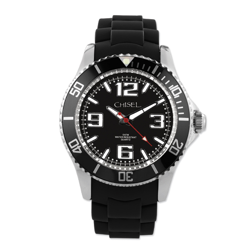 Men's Chisel 44mm Black Silicone Strap Watch