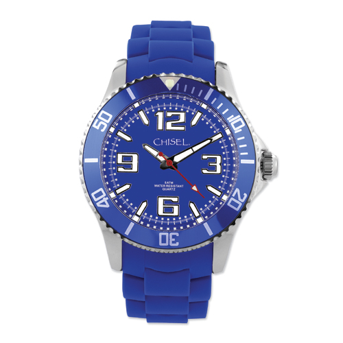 Men's Chisel 44mm Blue Silicone Strap Watch