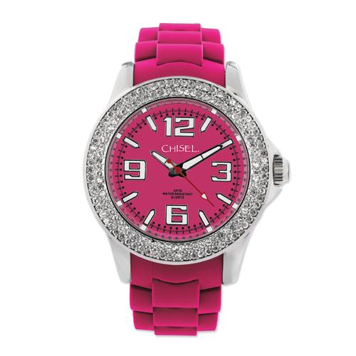 Ladies Chisel 40mm Crystal Bezel Dark Pink Silicone Strap Watch