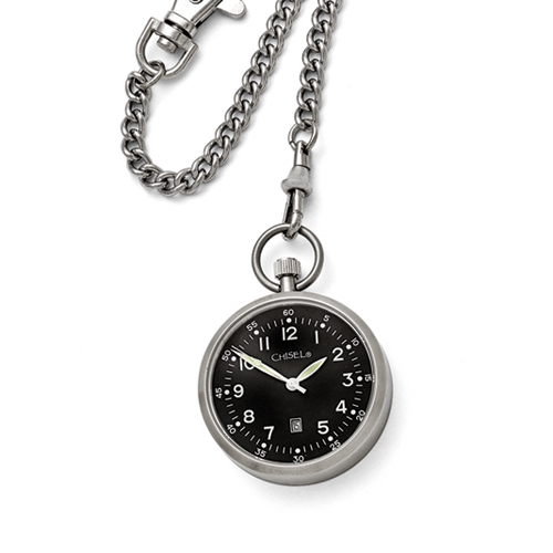 Chisel Stainless Steel Black Dial Pocket Watch
