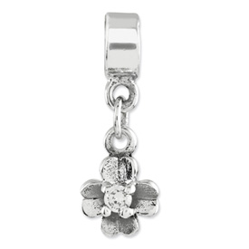 Reflection Beads Sterling Silver Kids CZ Clover Dangle Bead
