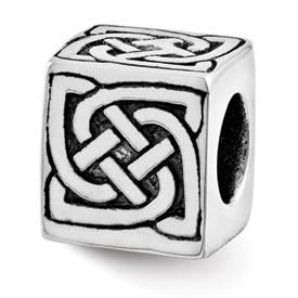 Reflection Beads Sterling Silver Celtic Block Bead